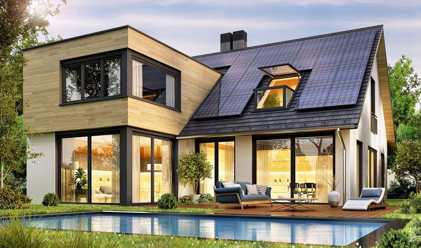 modern house with large windows and solar panels on the roof