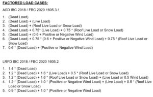 ASCE 7-16 Factored Load Cases