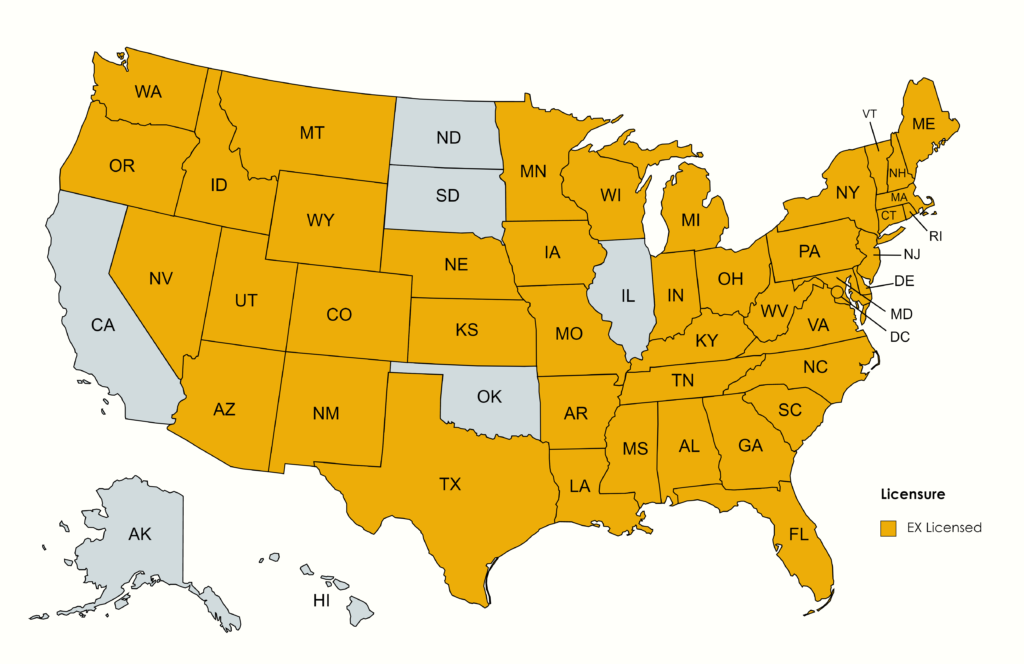 state map of where EX is licensed